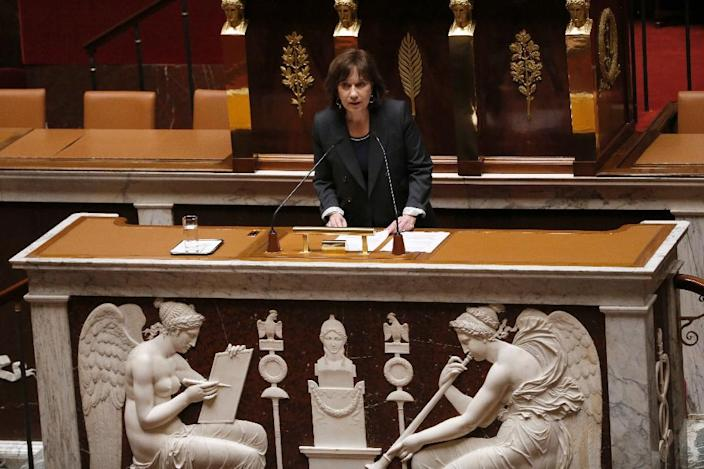 Minister for the Family, Children and Women's Rights, Laurence Rossignol speaks during a debate on a law that would make it illegal to pay for sex, on April 6, 2016 at the National Assembly in Paris (AFP Photo/Patrick Kovarik)