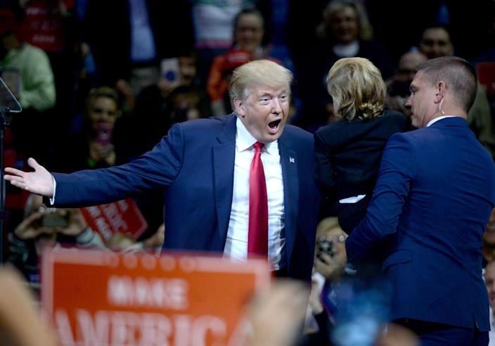 <p>Donald Trump speaks during a campaign appearance at the Mohegan Sun Arena in Wilkes-Barre, Pa on October 10, 2016. (Dennis Van Tine/MediaPunch/IPX/AP) </p>
