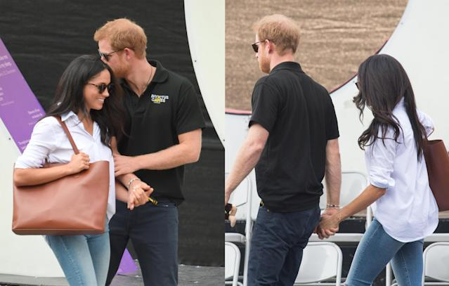 <p>The couple were spotted leaving the match hand-in-hand. (Photo: Getty Images) </p>
