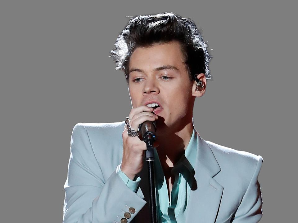 Harry Styles headshot, as singer-songwriter, graphic element on gray