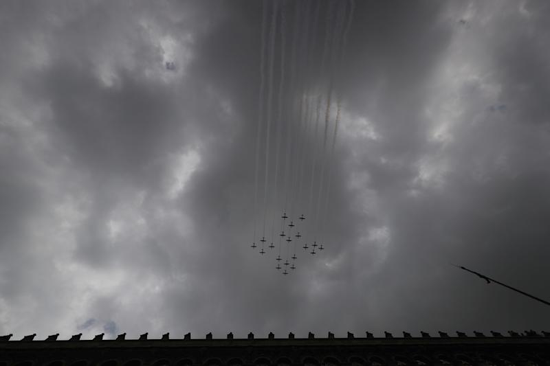 VARIOUS CITIES, MEXICO - SEPTEMBER 16: Mexican Air Force aircrafts perform a ceremonial flight during the Independence Day military parade at Zocalo Square on September 16, 2020 in Various Cities, Mexico. This year El Zocalo remains closed for general public due to coronavirus restrictions. Every September 16 Mexico celebrates the beginning of the revolution uprising of 1810. (Photo by Hector Vivas/Getty Images)