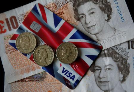 FILE PHOTO - A Union Jack themed Visa credit card is seen amongst British currency in this photo illustration taken in Manchester, Britain