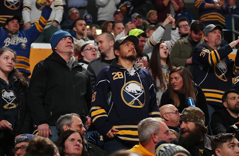 Buffalo Sabres fans cheer during an NHL game against the Vegas Golden Knights on January 14, 2020 at KeyBank Center in Buffalo, New York. (Photo by Bill Wippert/NHLI via Getty Images)