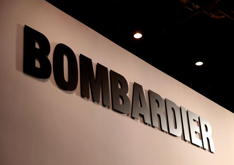 FILE PHOTO: A Bombardier logo is pictured during EBACE in Geneva