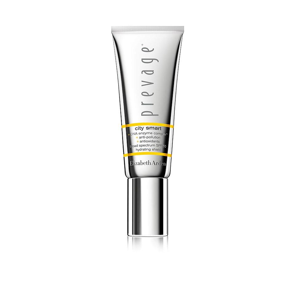 """<p>Elizabeth Arden's Prevage City Smart SPF 50 is an anti-sun with an SPF of 50 <em>and</em> anti-pollution. """"Prevage's City Smart has a combination of antioxidants that include ferulic acid, green tea, and idebenone, among others, which help neutralize free-radical damage caused by pollution and UV rays,"""" says Shari Marchbein, a board-certified dermatologist and clinical assistant professor of dermatology at New York University School of Medicine. """"It's also a mineral-based broad spectrum SPF 50, which protects against UVA and UVB damage.""""</p> <p><strong>$68</strong> (<a href=""""https://shop-links.co/1629890544254658031"""" rel=""""nofollow noopener"""" target=""""_blank"""" data-ylk=""""slk:Shop Now"""" class=""""link rapid-noclick-resp"""">Shop Now</a>)</p>"""