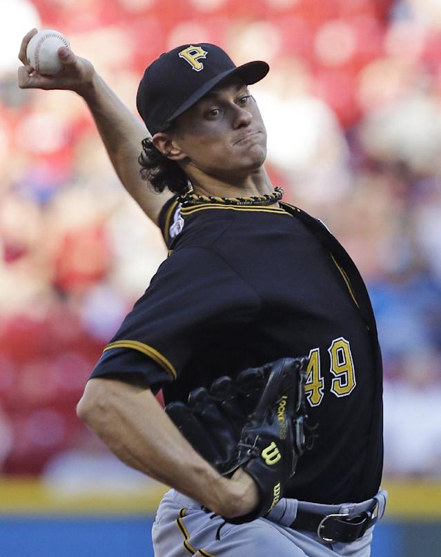Pittsburgh Pirates starting pitcher Jeff Locke throws against the Cincinnati Reds in the first inning of a baseball game on Wednesday, June 19, 2013, in Cincinnati. (AP Photo/Al Behrman)