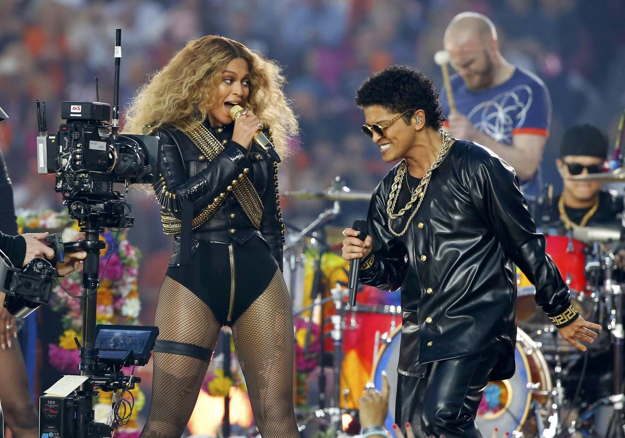 Beyonce and Bruno Mars perform during half-time show at the NFL's Super Bowl 50 football game between the Carolina Panthers and the Denver Broncos in Santa Clara