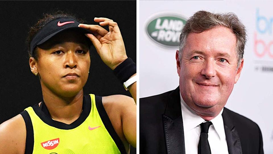 Piers Morgan (pictured right) during a media opportunity and  Naomi Osaka (pictured left) during her US Open loss.