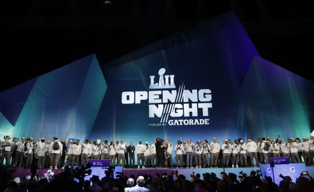 Philadelphia Eagles players are introduced during NFL football Super Bowl 52 Opening Night Monday, Jan. 29, 2018, at the Xcel Center in St. Paul, Minn. (AP Photo/Eric Gay)