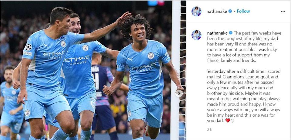 Nathan Ake posted a moving social media update after Wednesday's game against Leipzig