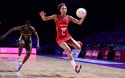 Serena Guthrie of England in action during the preliminaries stage two schedule match between England and South Africa at M&S Bank Arena - Credit: GETTY IMAGES