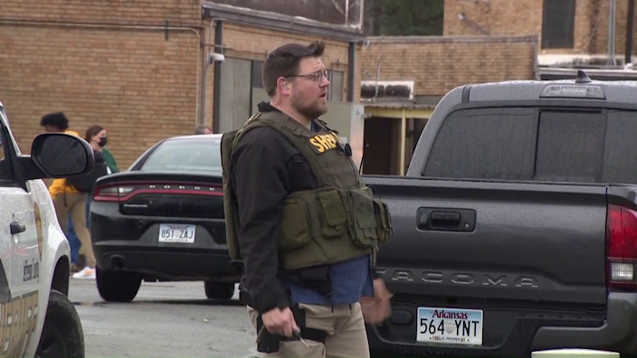 Police at the scene of a shooting at Watson Chapel Junior High School in Pine Bluff, Arkansas, on Monday, March 1, 2021. / Credit: CBS affiliate KTHV