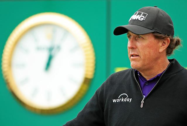 Phil Mickelson look on from the 17th tee during the final round of the 2019 U.S. Open at Pebble Beach Golf Links. (Getty Images)
