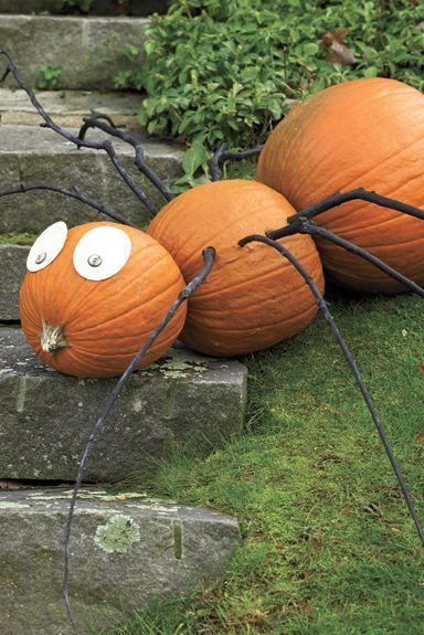 """<p>This spider pumpkin can be made from a handful of materials that you can find in your home and backyard.</p><p><em><strong><a href=""""https://www.womansday.com/home/crafts-projects/how-to/a6030/craft-project-spindly-spider-123878/"""" rel=""""nofollow noopener"""" target=""""_blank"""" data-ylk=""""slk:Get the Spindly Spider tutorial."""" class=""""link rapid-noclick-resp"""">Get the Spindly Spider tutorial.</a></strong></em></p>"""