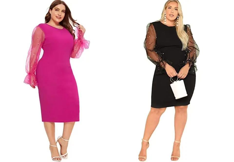 """The dramatic see-through sleeves on this dress will really show off your guns and make you feel like a million bucks at the same time.<br /><br /><strong>Promising review</strong>: """"I <strong>absolutely just love this dress. It looks exactly like the picture and fits very well.</strong>The chest area was just a little tight on me but not a deal-breaker. It is a little longer than expected but nothing a little hemming won't fix.<strong> I loved it so much I purchased another one in a different color.</strong>""""—<a href=""""https://www.amazon.com/gp/customer-reviews/R1CFNEYK1BDJM2?&linkCode=ll2&tag=huffpost-bfsyndication-20&linkId=4e25921779c4389b962f12b2a56ac67b&language=en_US&ref_=as_li_ss_tl"""" target=""""_blank"""" rel=""""nofollow noopener noreferrer"""" data-skimlinks-tracking=""""5876227"""" data-vars-affiliate=""""Amazon"""" data-vars-href=""""https://www.amazon.com/gp/customer-reviews/R1CFNEYK1BDJM2?tag=bfchelsea-20&ascsubtag=5876227%2C6%2C35%2Cmobile_web%2C0%2C0%2C16401255"""" data-vars-keywords=""""cleaning,fast fashion"""" data-vars-link-id=""""16401255"""" data-vars-price="""""""" data-vars-product-id=""""20980952"""" data-vars-product-img="""""""" data-vars-product-title="""""""" data-vars-retailers=""""Amazon"""">Amazon Customer</a><br /><br /><strong><a href=""""https://www.amazon.com/SheIn-Elegant-Contrast-Beading-Stretchy/dp/B07MVBNXSN?&linkCode=ll1&tag=huffpost-bfsyndication-20&linkId=675b669a65e2c7a63fa392e9e3529ff1&language=en_US&ref_=as_li_ss_tl"""" target=""""_blank"""" rel=""""noopener noreferrer"""">Get it from Amazon for$35.99+(available in sizes L–4XL and in five colors).</a></strong>"""