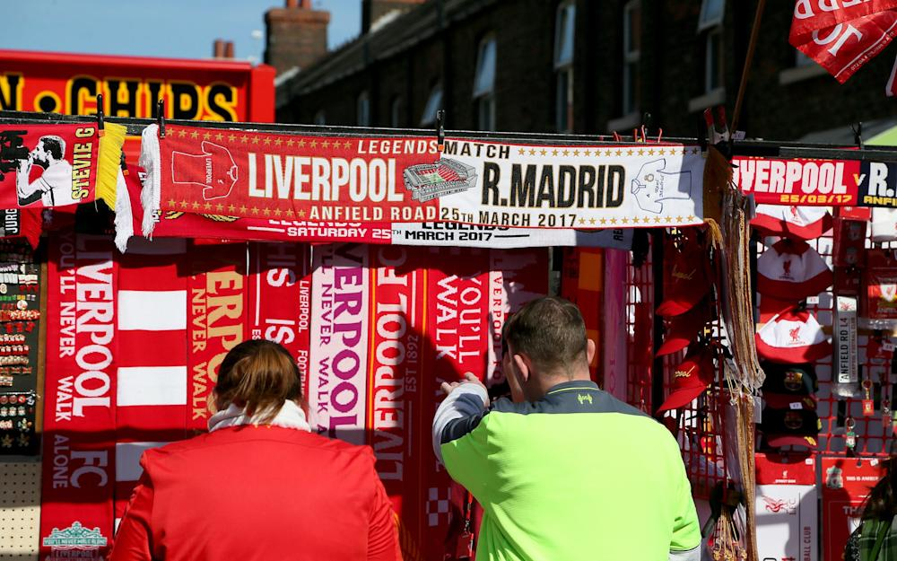 Merchandise for sale before the charity match at Anfield, Liverpool. PRESS ASSOCIATION Photo. Picture date: Saturday March 25, 2017. See PA story SOCCER Liverpool. Photo credit should read: Richard Sellers/PA Wire - Credit: PA