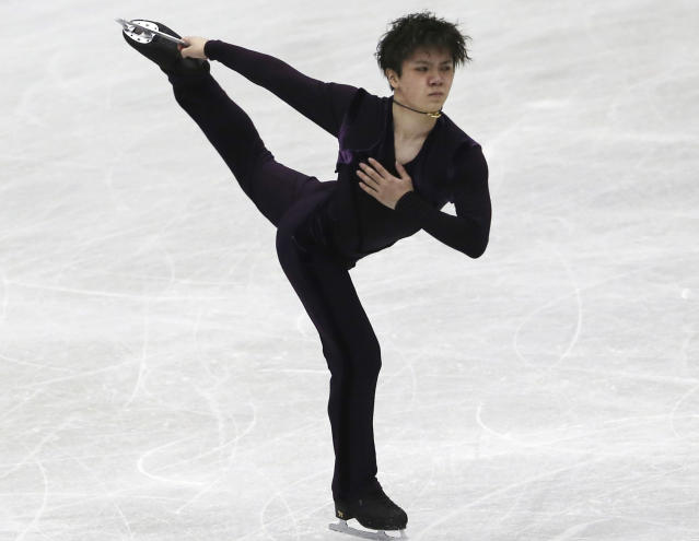 Shoma Uno of Japan performs during a men's short program of the NHK Trophy Figure Skating in Hiroshima, western Japan, Friday, Nov. 9, 2018. (AP Photo/Koji Sasahara)