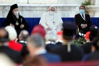 Pope Francis joins inter-religious prayer service for peace in Rome church