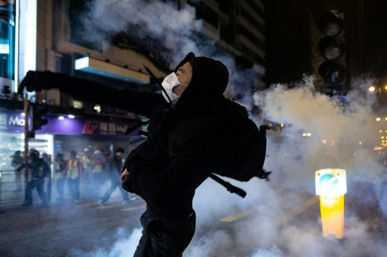 Christmas celebrations in Hong Kong were marred by sporadic clashes between the police and pro-democracy activists