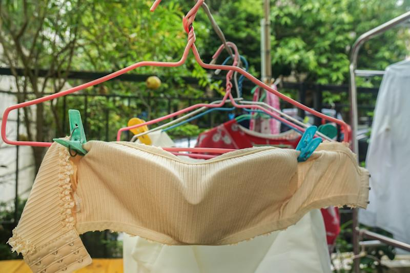 Underwear hung outdoors for drying