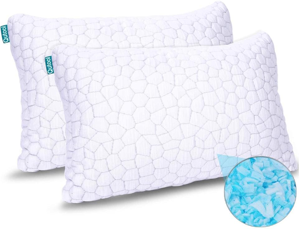 <p>These <span>2-Pack Hypoallergenic Gel Shredded Memory Foam Cooling Bed Pillows</span> ($53) are great for keeping your head cool while you sleep. It also molds perfectly to your neck, head, and shoulders. No more uncomfortable nights of sleep.</p>