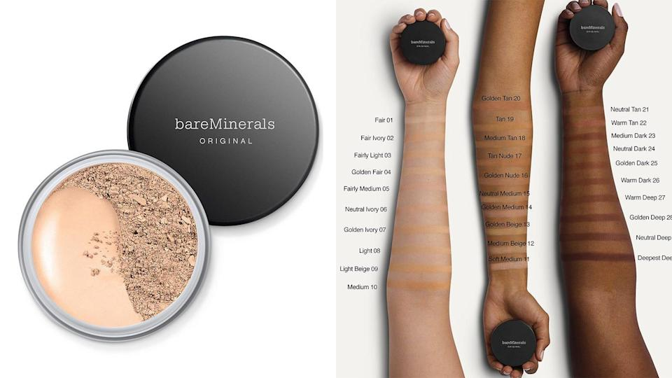 Add coverage to your skin with the BareMinerals Original Loose Mineral Powder Foundation Broad Spectrum SPF 15.