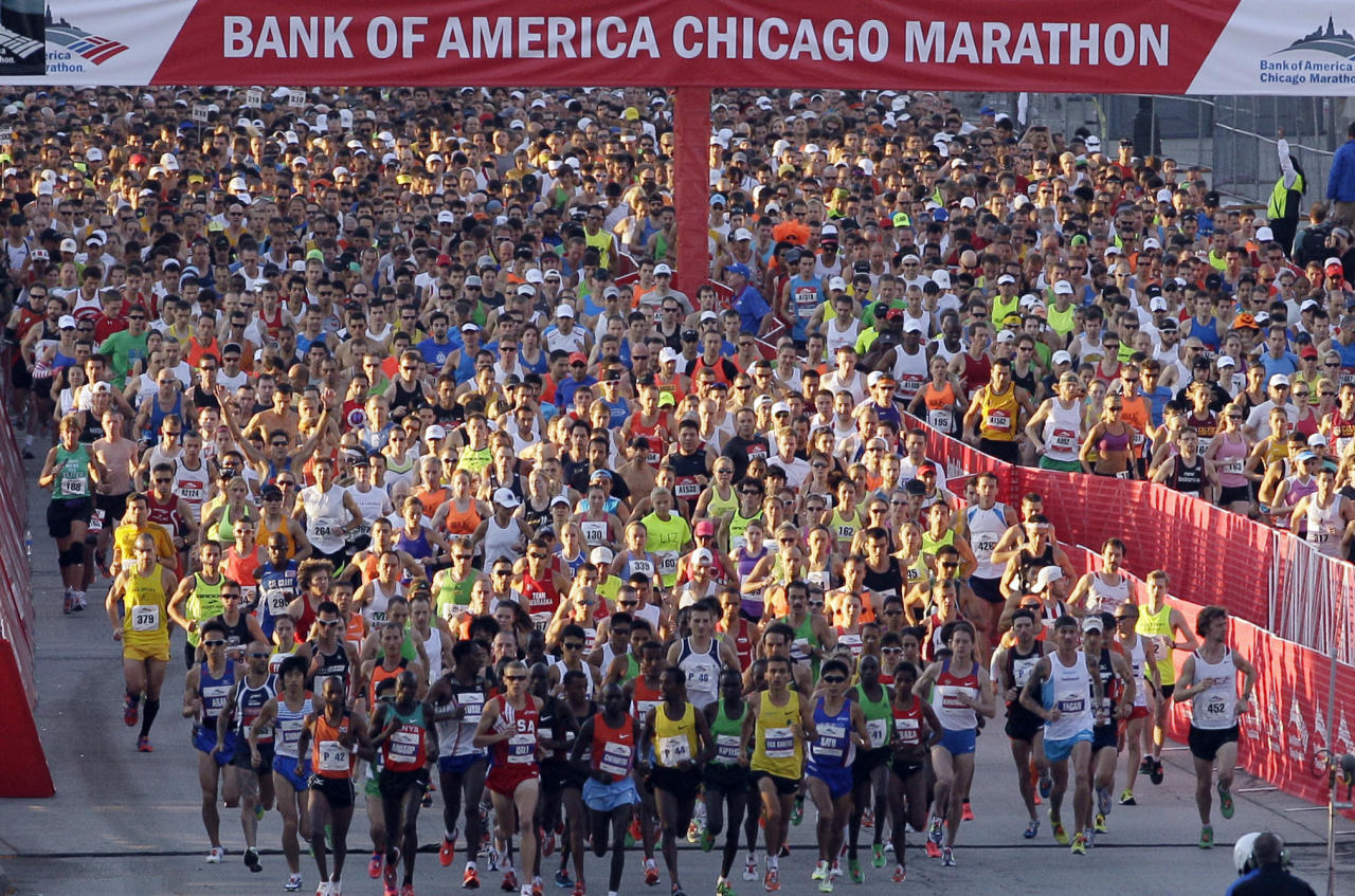 <p> FILE - In this Oct. 9, 2011 file photo, Runners start the Chicago Marathon in Chicago. Police aren't talking about all the security measures they are taking for Sunday Oct. 13, 2013, Chicago Marathon, but they leave little doubt that the first so-called World Marathon Major in the United States since the Boston Marathon bombings last April will be the most closely watched race in the city's history. (AP Photo/Nam Y. Huh, File)