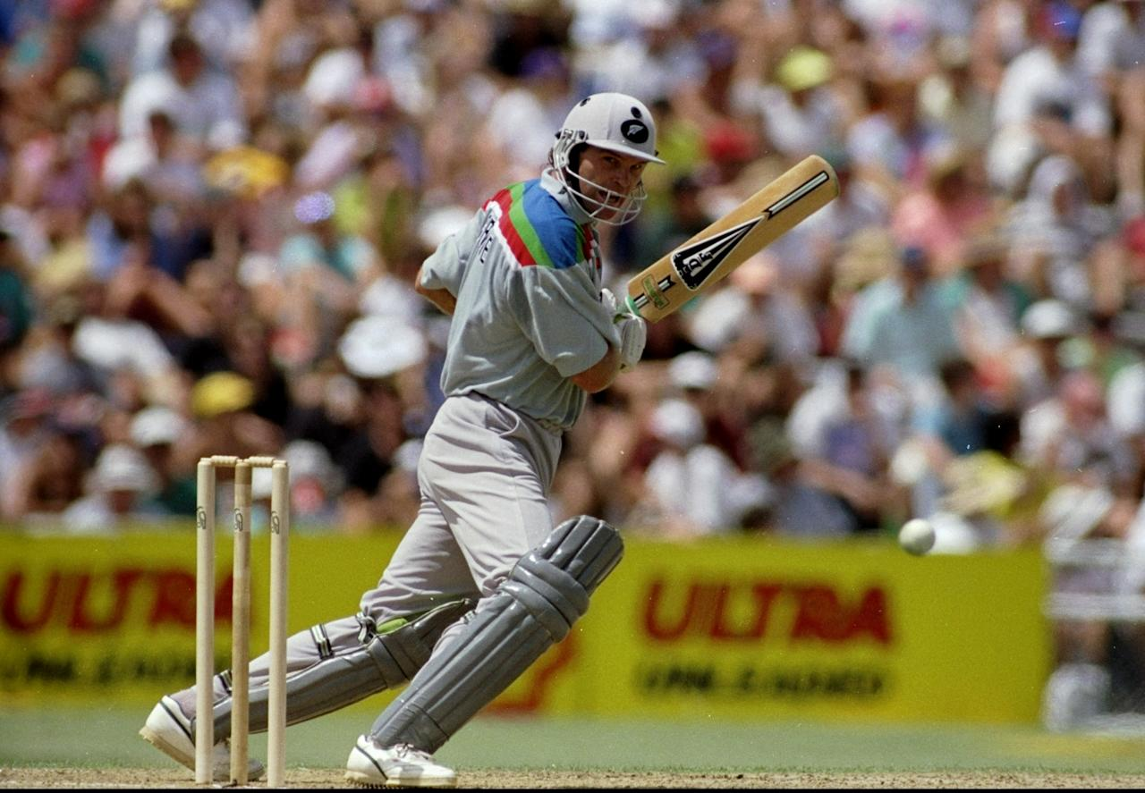 22 Feb 1992:  Martin Crowe of New Zealand on his way to an unbeaten century in the World Cup match against Australia at Eden Park in Auckland, New Zealand. New Zealand won by 37 runs. \ Mandatory Credit: Allsport UK /Allsport
