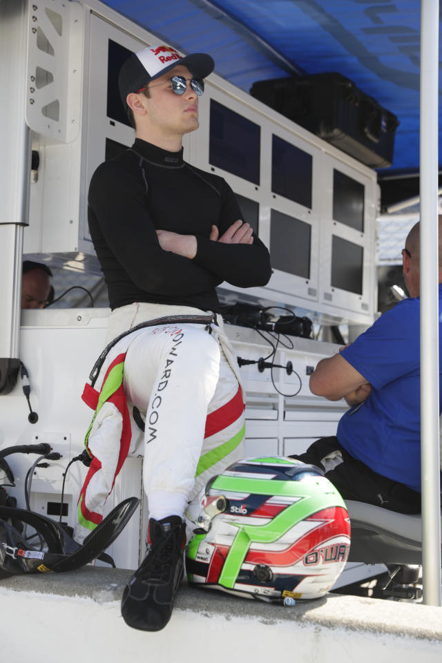 Patricio O'Ward, of Mexico, waits for the start of practice for the Indianapolis 500 IndyCar auto race at Indianapolis Motor Speedway, Thursday, May 16, 2019 in Indianapolis. (AP Photo/Michael Conroy)