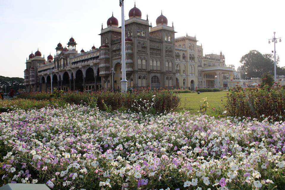 The palace is surrounded by a large garden.