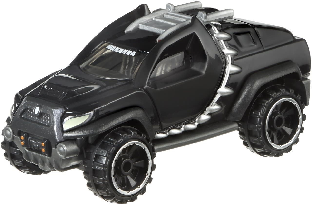 "<p>The new hero on the block gets this souped-up SUV, with headlights reminiscent of his mask along with cat's ears on the doors surrounded by his trademark Wakandan toothed necklace. According to the packaging, T'Challa's ""heart-shaped herb is hidden in the rear cargo,"" powering the vehicle's super performance.</p>"