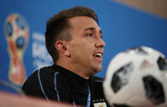 Soccer Football - World Cup - Uruguay Press Conference - Rostov Arena, Rostov-on-Don, Russia - June 19, 2018 Uruguay's Fernando Muslera during the press conference REUTERS/Marko Djurica