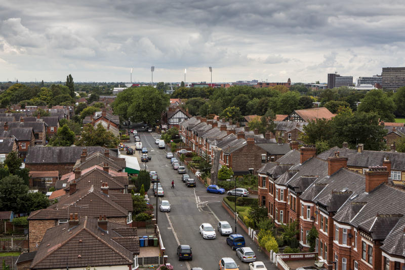 A view from the top of St John's Church looking down Ayres Road, Old Trafford, Manchester. Greater Manchester. (Photo by In Pictures Ltd./Corbis via Getty Images)