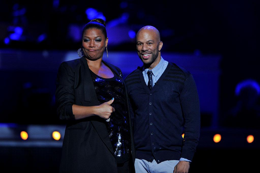 """Queen Latifah and Common on <a href=""""/american-idol/show/34934"""">""""Idol Gives Back.""""</a>"""