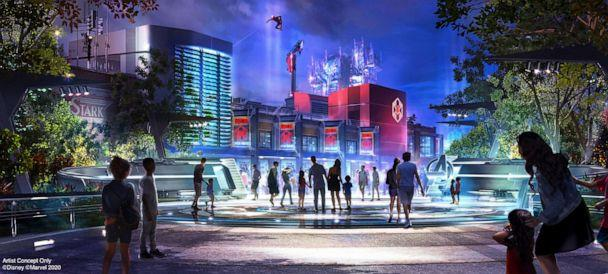 PHOTO: Spider-Man will swing into action, performing extreme acrobatics high above the WEB building on the Avengers Campus, using a new Disney Imagineering robotic technology called Stuntronics. (Disneyland Resort)