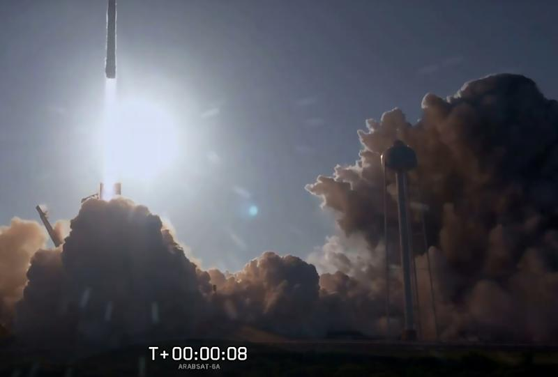 This still image from video courtesy of SpaceX shows the SpaceX Falcon Heavy Rocket lifting off from Kennedy Space Center in Florida