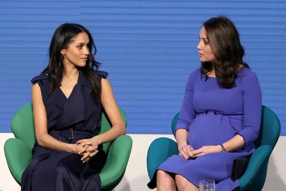 Body language expert claims there were signs of a rift forming between Meghan Markle and Kate Middleton during the first annual Royal Foundation Forum. Source: Getty