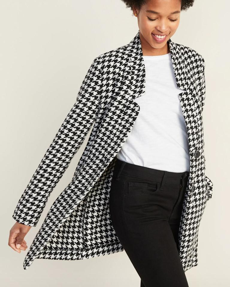 "Old Navy Textured Houndstooth Coat for Women $59.99, Old Navy. <a href=""https://oldnavy.gap.com/browse/product.do?pid=450977002&cid=1049983&pcid=55474&vid=1&grid=pds_56_107_1#pdp-page-content"">Get it now!</a>"
