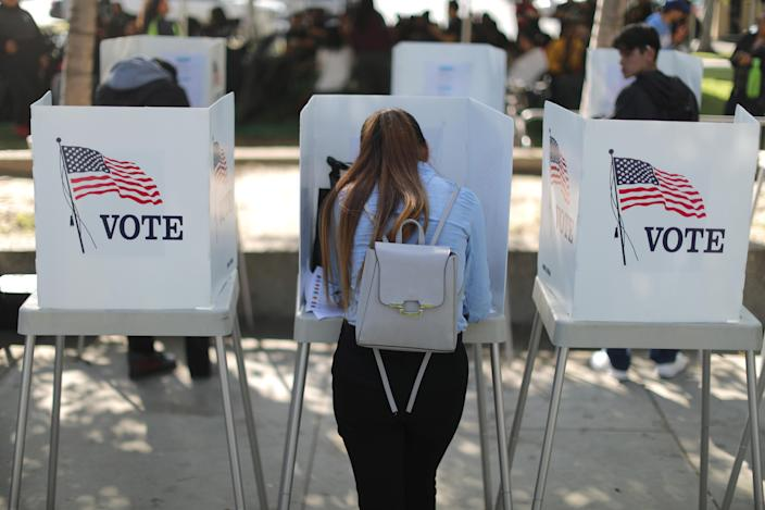Desteny Martinez, 18, votes for the first time in Norwalk, Calif., on Oct. 24. (Photo: Lucy Nicholson/Reuters)