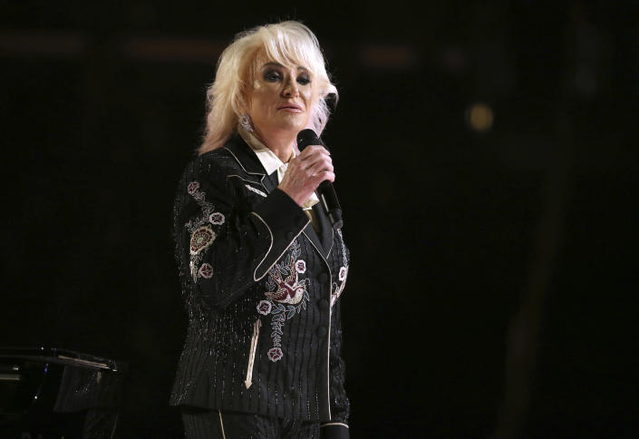 """FILE - Tanya Tucker performs """"Bring My Flowers Now"""" at the 62nd annual Grammy Awards on Jan. 26, 2020, in Los Angeles. Tucker turns 62 on Oct. 10. (Photo by Matt Sayles/Invision/AP, File)"""