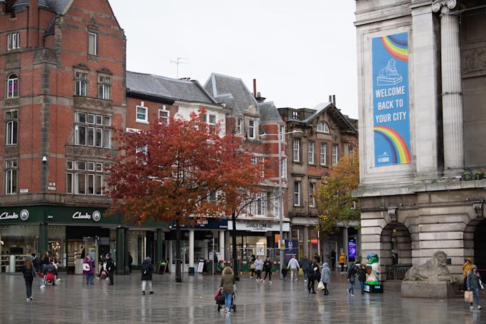 Old Market Square in Nottingham ahead of the city moving into the Tier 3 alert level from 0001 on Friday.