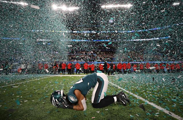 NFL Football - Philadelphia Eagles v New England Patriots - Super Bowl LII - U.S. Bank Stadium, Minneapolis, Minnesota, U.S. - February 4, 2018. Philadelphia Eagles' Patrick Robinson celebrates winning Super Bowl LII. REUTERS/Chris Wattie TPX IMAGES OF THE DAY