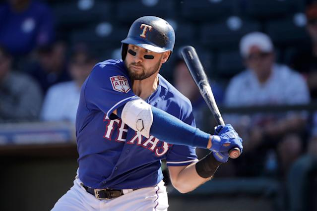 Slugger Joey Gallo is one of the Rangers' interesting young pieces, but he will need to continue to improve for Texas to make a jump. (AP Photo/Charlie Riedel)