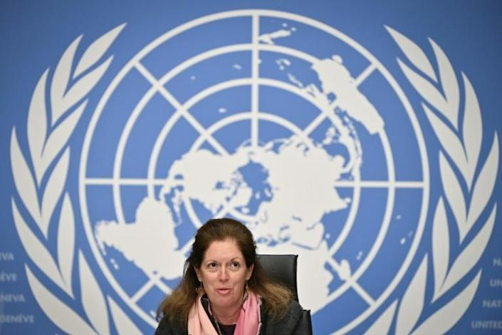 Deputy Special Representative of the UN Secretary-General for Political Affairs in Libya Stephanie Williams speaks during a press conference in Geneva on February 5, following the election of a new interim government for Libya