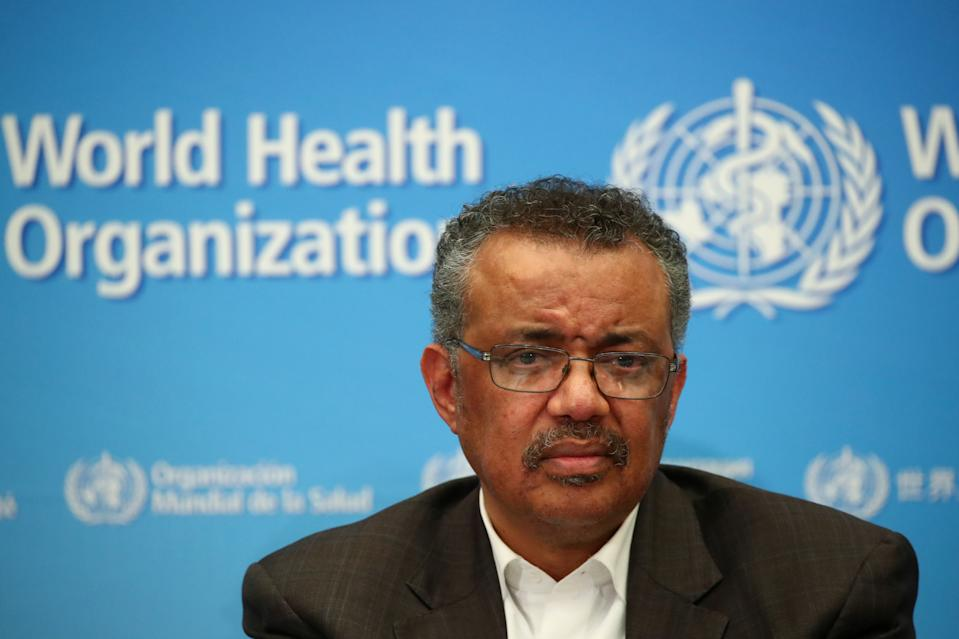 Director-General of the World Health Organization (WHO) Tedros Adhanom Ghebreyesus attends a news conference after a meeting of the Emergency Committee on the novel coronavirus (2019-nCoV) in Geneva, Switzerland January 30, 2020. REUTERS/Denis Balibouse