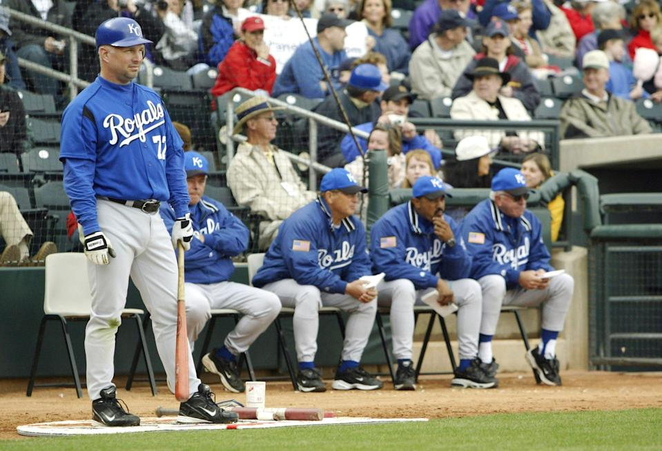 <p>In addition to music, Brooks acted on his passion for baseball and played for the Kansas City Royals. Here, the star waits in the on-deck circle for his turns against the Texas Rangers in 2004.</p>