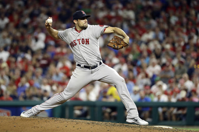 Boston Red Sox's Nathan Eovaldi pitches during the third inning of the team's baseball game against the Philadelphia Phillies, Wednesday, Aug. 15, 2018, in Philadelphia. (AP Photo/Matt Slocum)