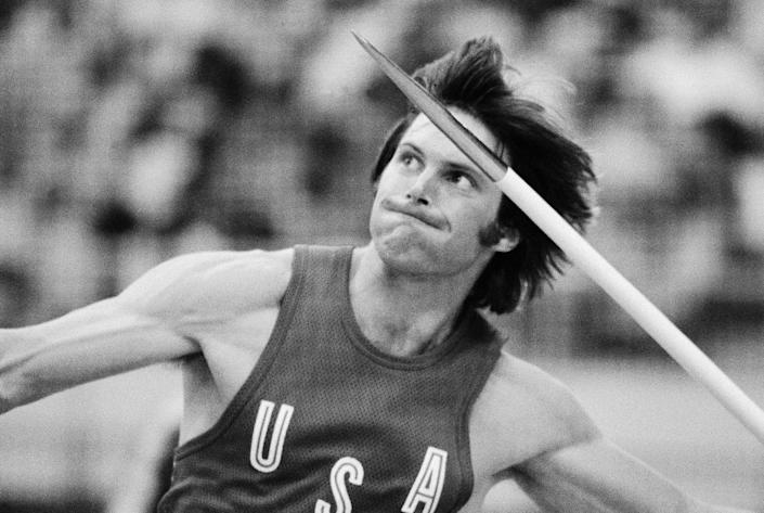 Caitlyn Jenner, of the United States, throws the javelin during the decathlon competition at the Olympics in Montreal, as part of a gold-medal performance. (AP Photo/File)