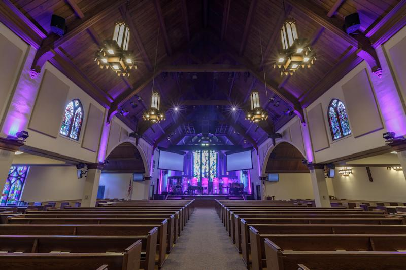 Inside Menlo Church, where congregants recently learned that their senior pastor failed to inform church elders that his son, a volunteer, had expressed an attraction to minors. According to church officials, no one has come forward with allegations that they were sexually abused by the son. (Photo: yhelfman via Getty Images)