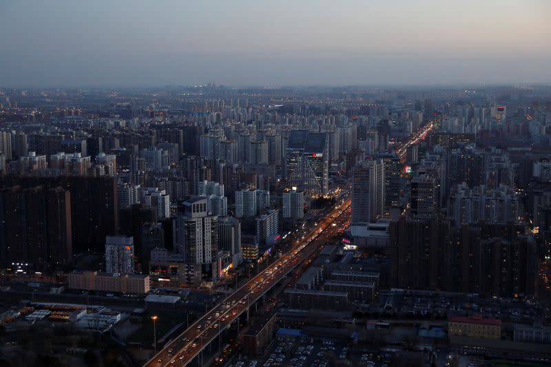 General view shows the traffic during the evening rush hour in Beijing